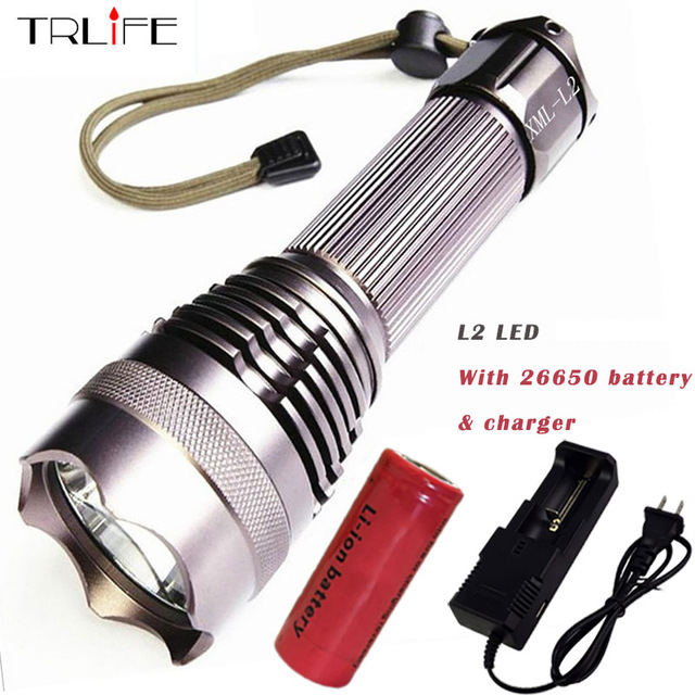 Powerful -L2/T6 LED Flashlight 5 Modes Lanterna LED Tactical Torch Use 26650 Rechargeable Battery rechargeable 2000lm tactical cree xm l t6 led flashlight 5 modes 2 18650 battery dc car charger power adapter