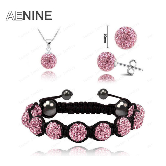 AENINE European Style Jewelry Sets Necklace+Bracelet+Earrings 10mm Micro Pave CZ