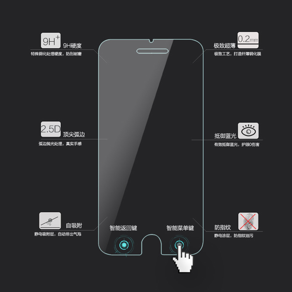 Wholesale 5pcs/lot Smart Return Key Film Tempered Glass Screen Protector For iPhone 6 4.7″ 6 Plus 5.5″