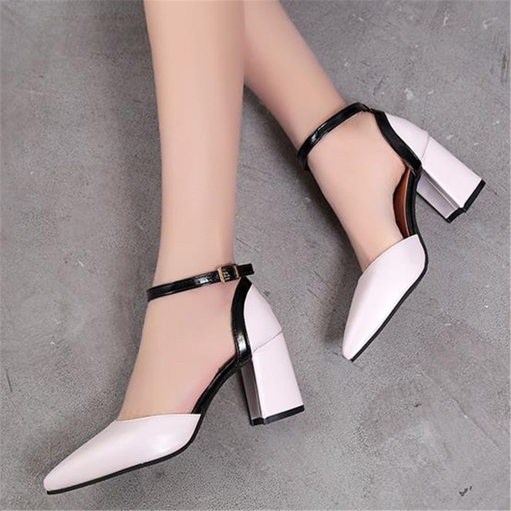 European Style Summer New High-heeled Thick With Women Pumps Pointed Bag With Ladies Sandals Color OL Fashion Wild Women's Shoes