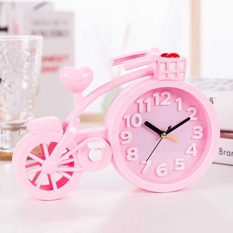 Linda bicicleta alarme relógio relógio personalidade criativa dos desenhos animados estudante relógio despertador de cabeceira decoração de mesa de presente de aniversário