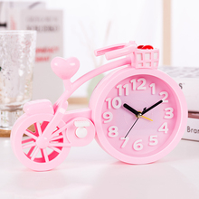 Lovely bicycle alarm clock cartoon creative personality student bedside birthday gift table decoration