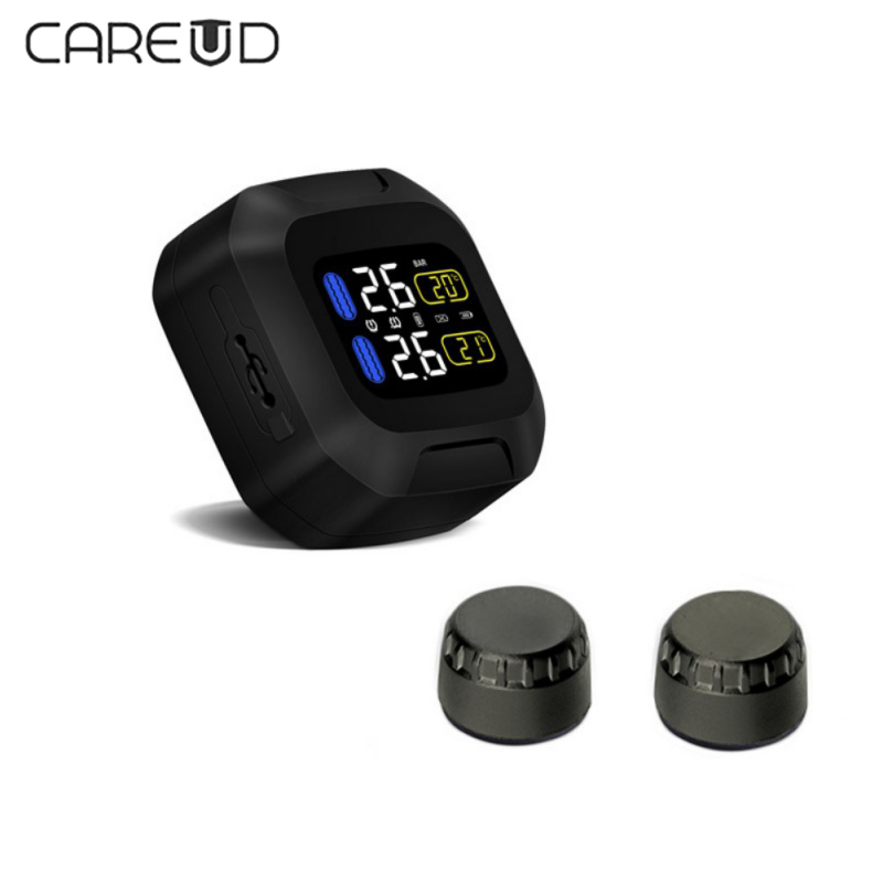 Waterproof Lightning proof General Wireless TPMS Motorcycle Tire font b Pressure b font Monitoring System For