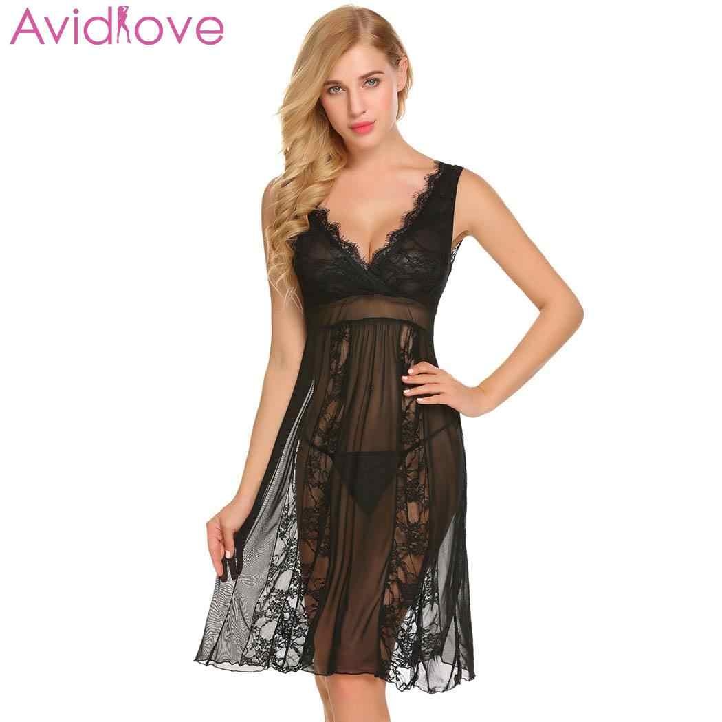9646fb8caa Avidlove Sexy Underwear Women Erotic Nightwear Mesh Lace Lingerie G-String  Women V-Neck