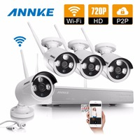 ANNKE 4CH 720P HD Wireless Network CCTV System 4pcs Indoor Outdoor 720P Wifi IP Security Camera