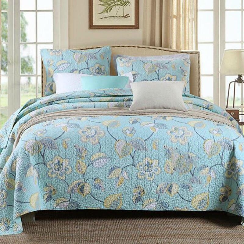100% colchas de algodão floral super macio acolchoado colcha conjunto retalhos colcha rainha tamanho 3 peças