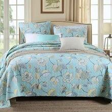% 100% pamuklu yatak örtüleri çiçek süper yumuşak kapitone yatak örtüsü seti Patchwork yatak örtüsü kraliçe boyutu 3 adet