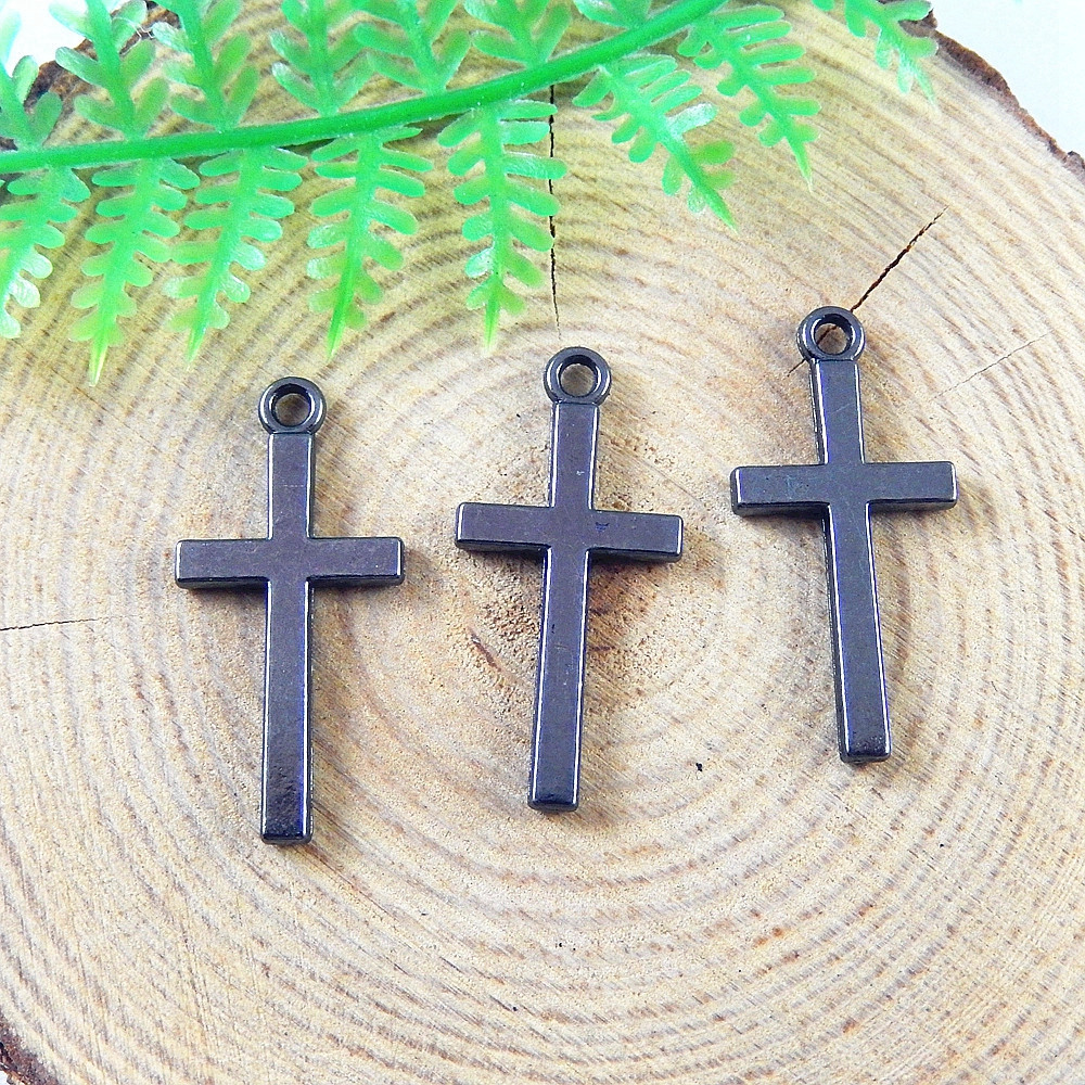 20pcs lot Unisex Gun Black Cross Pendant Charms Religious Style Man Necklace 26 12 1mm font