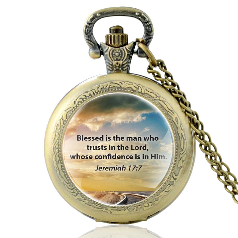 Blessed Is The Man Who Trusts In The Lord Bible Verses Quart Pocket Watch Vintage  Men Christian Faith Pendant Necklace Watches