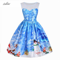 Women Sleeveless O Neck Vintage Christmas Dress Fairy Tale Style Christmas Party Princess Dresses Ladies Retro