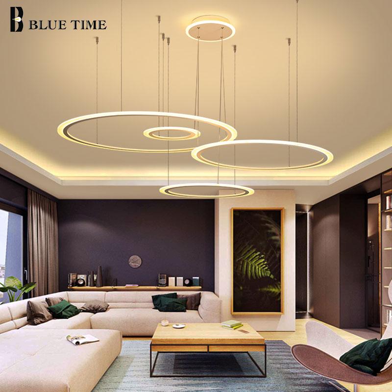 White Modern Led Pendant Light Hanging Lamp 4&3rings Acrylic Led Ceiling Pendant Lamp For Living Room Dining Room Kitchen Lustre