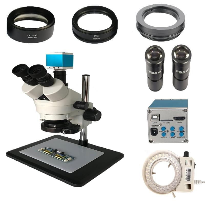 3.5X 7X 45X 90X Soldering Simul-focal Trinocular Stereo Microscope 16MP HDMI Microscope USB Video Camera 144 led lights lamp