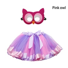 SPECIAL Girls Tulle Skirt With Owl Mask Girls Dance Dress Outfits Summer Princess Party Child Fairy Dress Dance Skirt indian princess belly dance tulle feather party mask