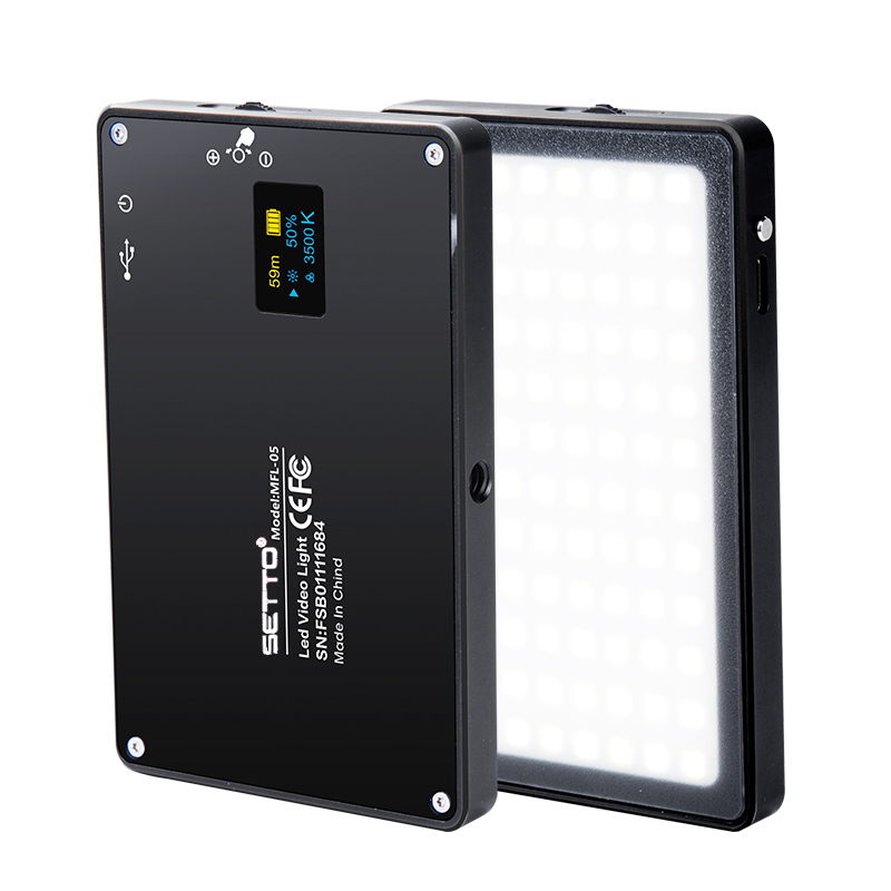Ultra Thin Aluminum Dimmable OLED Display 96 Pcs LED Video Light with Battery CRI96 Bi Color