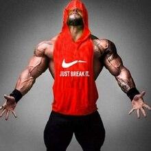 Men Gyms Clothing Bodybuilding Tank Tops Mens Just Break It Hooded Vest Singlets Stringer Fitness Sleeveless Golds Tees 2017 New