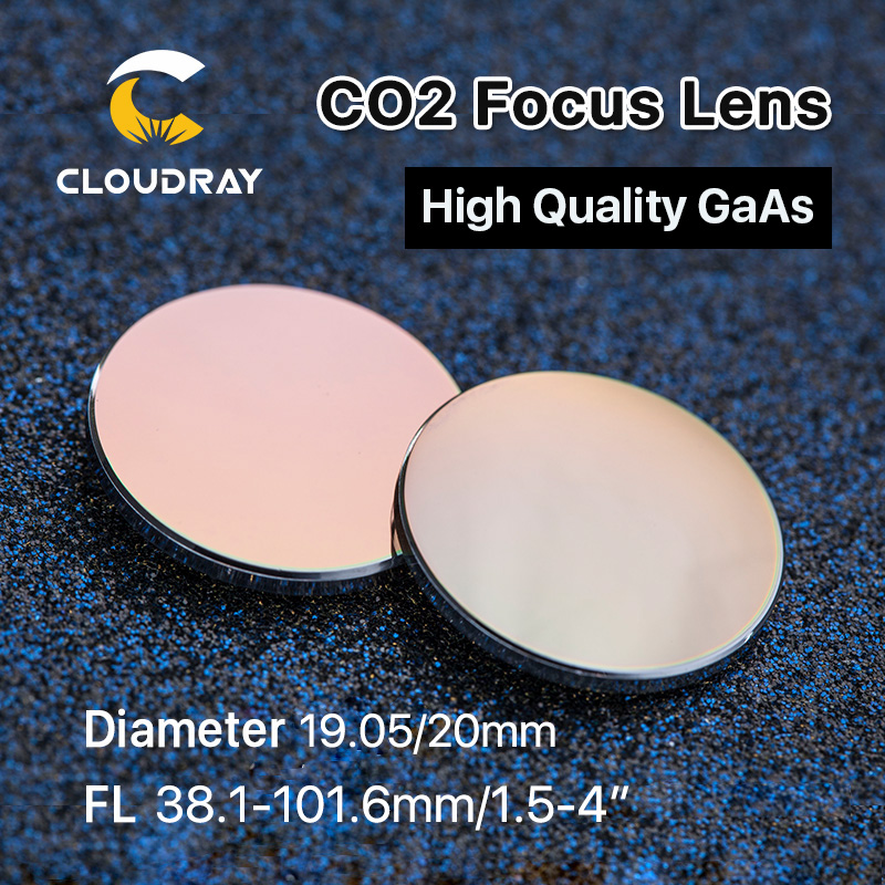 "Cloudray GaAs Focus Lens Dia. 19.05 / 20mm FL 50.8 63.5 101.6mm 1.5-4 ""Alta qualità per macchina da taglio per incisione laser CO2"