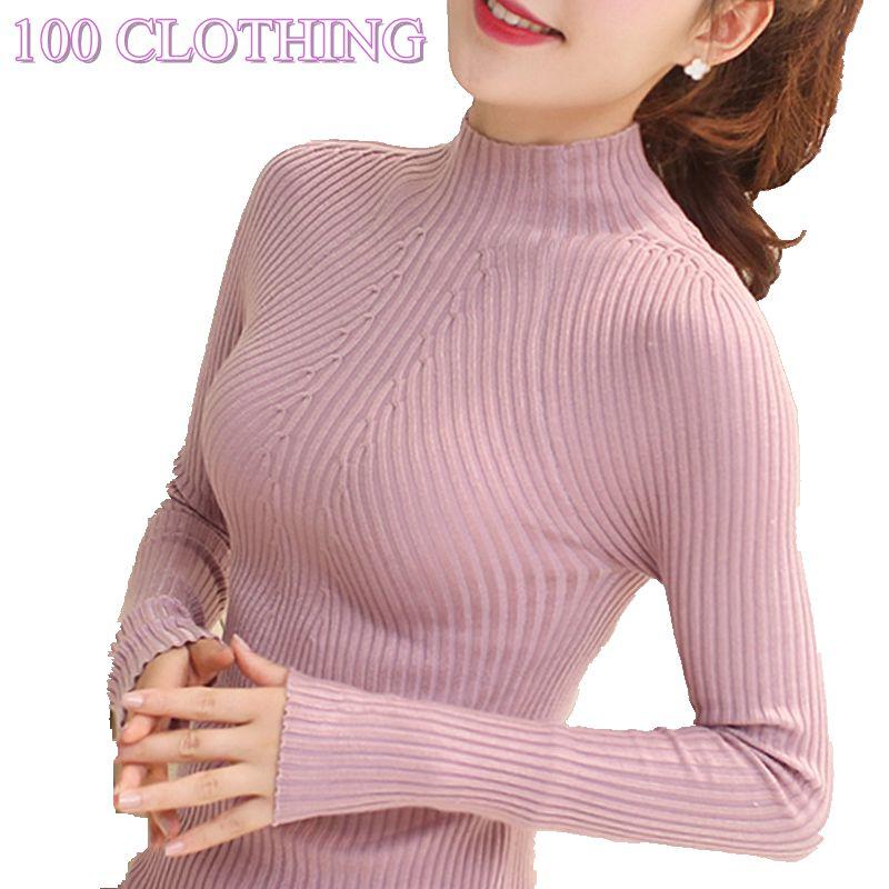 2017 herbst winter mode frauen pullover hohe elastische sexy dünne warme enge boden pullover frauen elegante gestrickte pullover