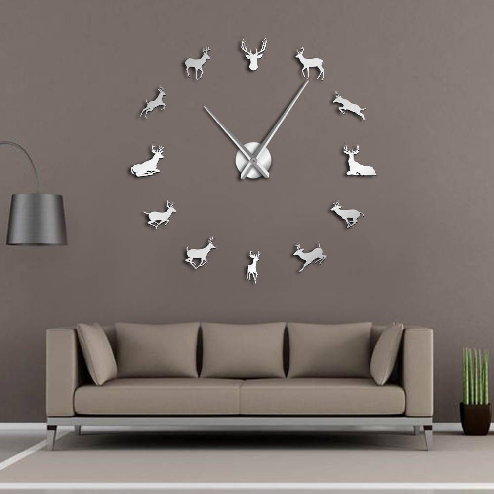 Deer Head DIY Giant Wall Clock Woodland Deer Hunter Modern Deer Antler Wall Clock Acrylic Mirror Effect Animals Home Decorations(China)