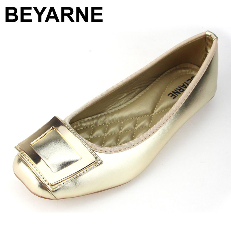 BEYARNE Flats Woman 2018 New Arrival Metal decoration Pointed toe Women Shoes High Quality Comfortable Flat Shoes Size 35-43 pu pointed toe flats with eyelet strap