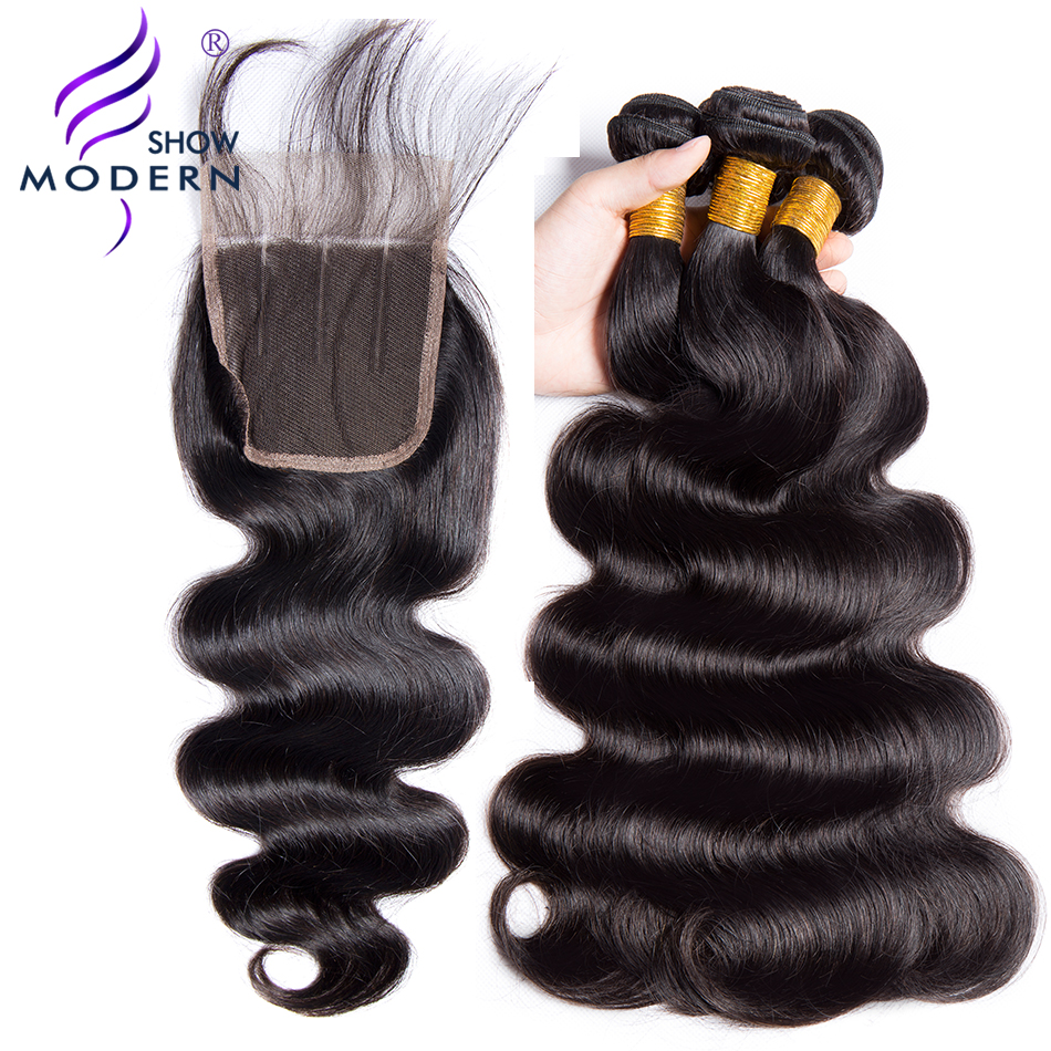 Malaysian Body Wave With Closure 3 Bundles Modern Show Hair Weave Non Remy Free Part 4 P ...