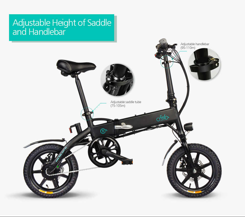 2019 nouveauté vélo électrique 14 pouces D1 10.4Ah pliant cyclomoteur vélo électrique gonflable en caoutchouc pneu avec frein à disque FIIDO