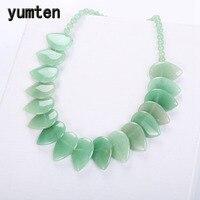 Yumten Aventurine Leaf Necklace Green Jade Choker Women Flower Pendant Natural Stone crystal Genuine Gemstone Female Jewelry