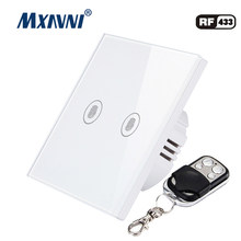 MXAVNI EU/UK standard remote control switch,2 Gang 1 Way, wall lamp remote control switch, with mini remote control(China)