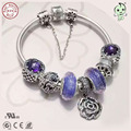 Fashion High Quality Luxurious Purple Series 925 Real Silver Charm Bracelet With Different Silver Charms