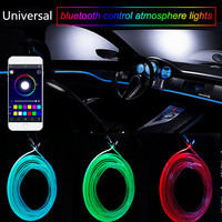 RGB Light LED Car Interior Neon Strip Light Sound Active Bluetooth Phone Control Interior Mouldings Universal 2018 Car styling