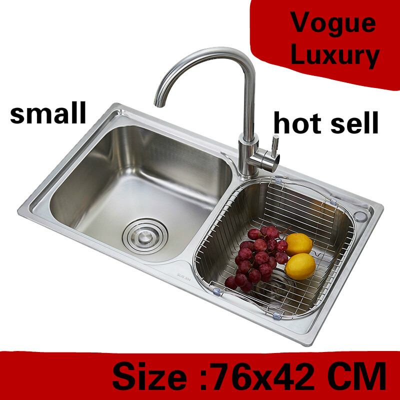 Free Shipping Apartment Do The Dishes High Quality Kitchen Double Groove Sink Vogue 304 Stainless Steel Hot Sell Small  76x42 CM