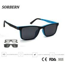 SORBERN เด็กน้ำหนักเบา Ultem แว่นตาแฟชั่นคลิปแม่เหล็กบนแว่นตากันแดด Polarized เลนส์เด็กสแควร์แว่นตาแว่นตา