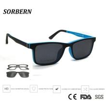 Sorbern crianças de pouco peso ultem óculos moda clipe magnético em óculos de sol polarizados lente crianças óculos quadrados