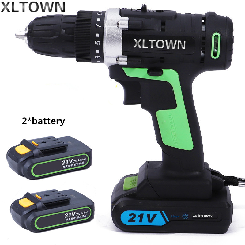 цена на XLTOWN new 21v cordless electric drill with 2 battery rechargeable lithium battery electric screwdriver household power tools
