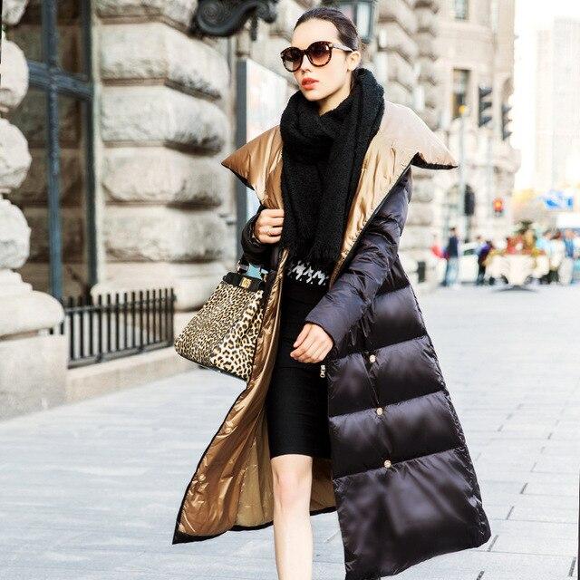 Womens Long Puffer Jacket 2016 Winter Women Down Coat Super Larg Las Coats Extra