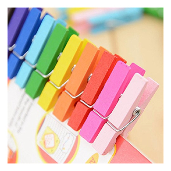 HOT GCZW-50 pieces Mini Colorful Wood Clip Clothes Clips Pegs for Photo Paper Clothes Note