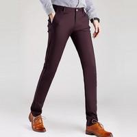 צבע אחיד בתוספת גודל Slim Fit ישר גברים מכנסיים שמלת מכנסיים רגליים מפלגה ארוחת ערב פנאי סגנון חדש