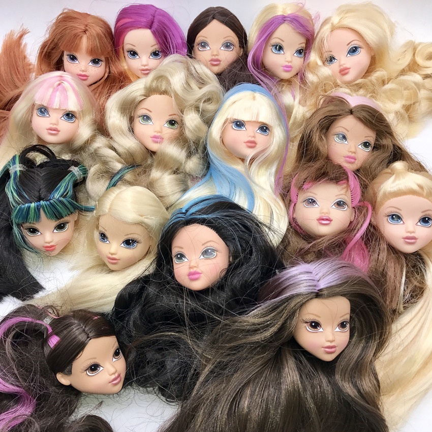 New Fashion Doll Head with Black Brown Hair DIY Accessories For big Big eyes head Doll girls gift ...