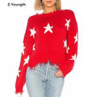 2018 Autumn Winter White Star Decoration Red Women Sweater Deep V Neck or Backless Sweater Vintage Pullover Knitting Sweater
