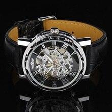 3 Colorido Clásico Hombres de Cuero Dial Mecánico Esquelético Del Ejército Deportivo Reloj de pulsera Hombres de Las Mujeres Relojes