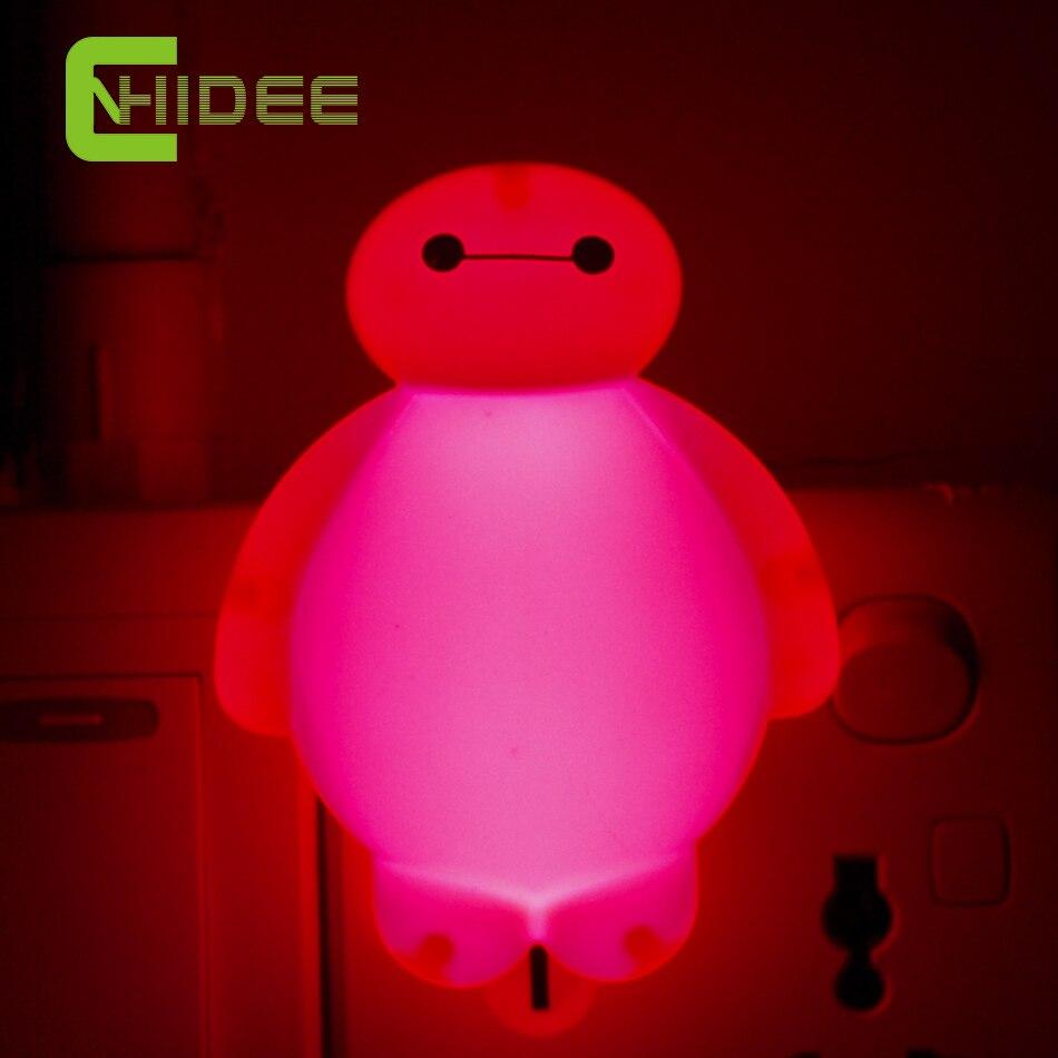 Baymax Стены Lampara Мультфильм Привело Свет Ночи Кровать Лампы Ночь лампы Домашнего Освещения для Kid Дети Детские Подарки Ко Дню Рождения US <font><b>Plug</b></font>