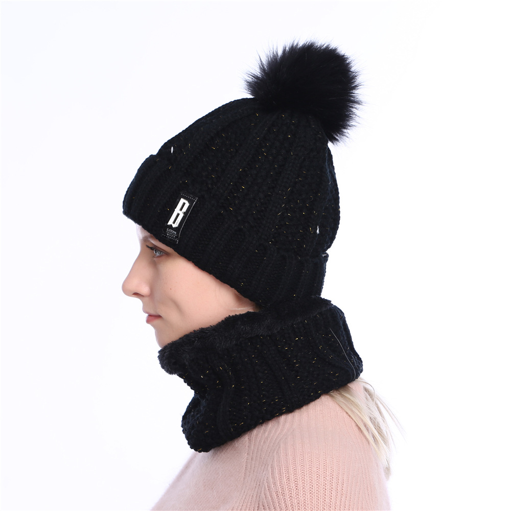 3c60b26f Pom Pom Hat Women Beanie Hat Womens Beanies Black Pink Winter Hat Solid  Faux Fur Hat and Scarf for Women Skullies Beanies