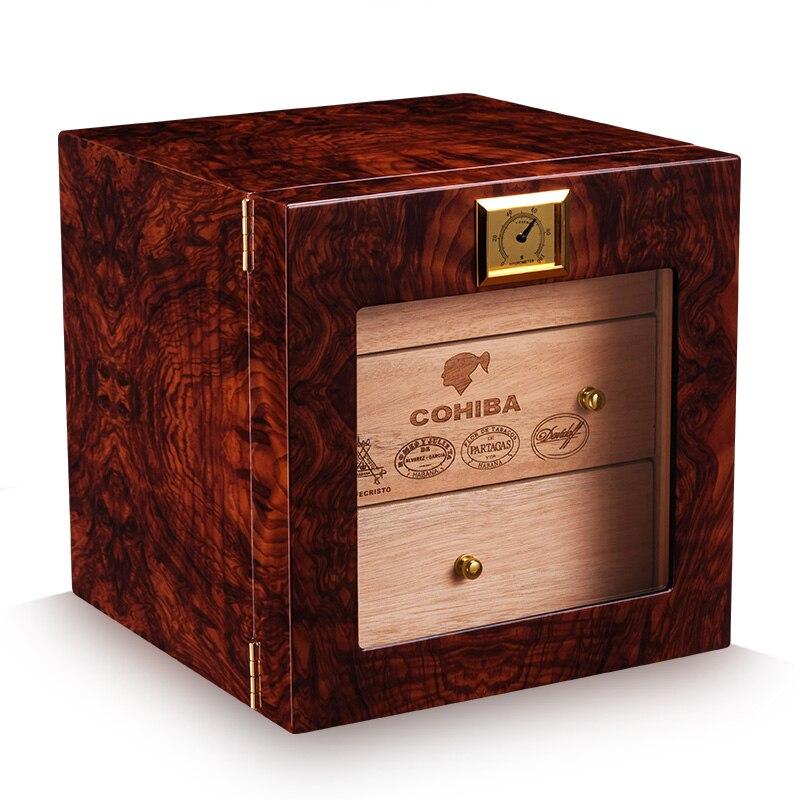CIGARLOONG 3 Layers Cigar Humidor Box cedar Wood Lined Hygrometer Smoking Cigar Accessories Gifts CA 0412