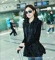 Plus Size 3XL Women Slim Long Leather Coat 2015 Korean Lapel Jacket Women PU Leather Belt Female Black Clothing Veste Femme