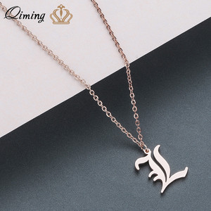 QIMING Stainless Steel Metal Korean Necklace Women L Initial A - Z 26 Letter Old English Style Vintage Pendant Necklace Girls