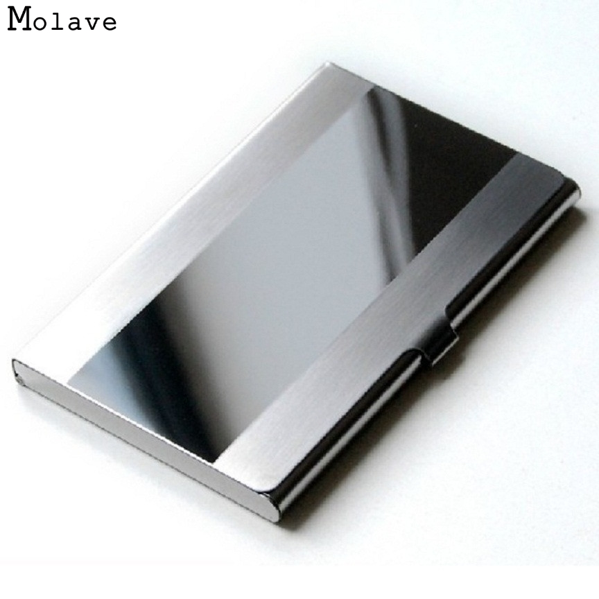 Naivety New Fashion Stainless Steel Silver Color Aluminium Business ID Credit Card Holder Cover Case AUG04 drop shipping business card holder women vogue thumb slide out stainless steel pocket id credit card holder case men