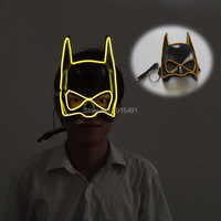 2017 Newest 10 Colors Holiday Lighting Batman EL Mask Powered By 2 AA Batteries With DC3V
