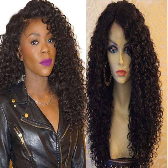 Long Curly Synthetic Lace Front Wigs For Black Women Afro
