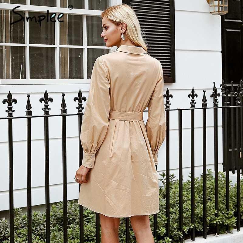 Женское осенне-зимнее платье Simplee, с высокой талией, офисное хлопковое платье в складку с длинным рукавом белого цвета и цвета хаки, платье-рубашка
