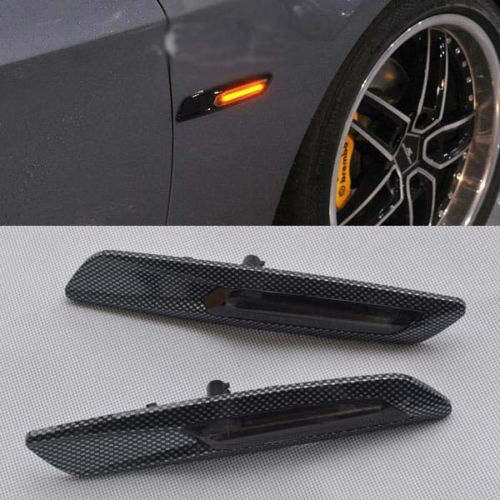 CYAN SOIL BAY 2x F10 style Carbon Trim LED Side marker Turn light signal smoke For BMW E90 E91 E60 E61 E81 E82 E87 E88 free shipping 2x led turn signal side light auto parts led side marker car accessories with m logo for bmw e46 02 05 4d 5d
