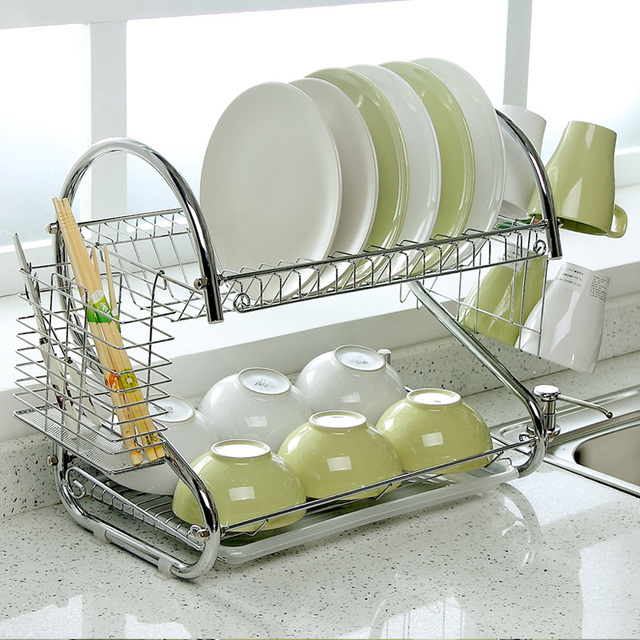 S-Shaped Dish Rack Set 2-Tier Chrome Stainless Plate Dish Cutlery Cup Rack & S Shaped Dish Rack Set 2 Tier Chrome Stainless Plate Dish Cutlery ...